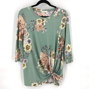 Reborn J floral twist front blouse top M